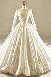 Lange Satiniert T Hemd Fallen Bateau Reißverschluss Brautkleid