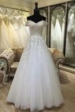 Bördeln Natürliche Taille Kirche Brautkleid mit kurzen Ärmeln
