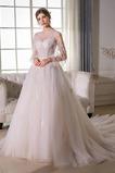 Natürliche Taille Reiner zurück Illusionshülsen Lange Ärmel Brautkleid