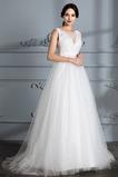 Breit flach Tüllauflage Natürliche Taille Draussen Brautkleid