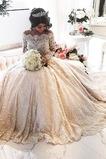 Formalen Tüll Kathedrale Zug Illusionshülsen Abperleffekt Brautkleid