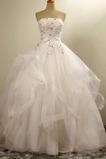 Formalen Natürliche Taille Trägerlos Organza A Linie Hochzeitskleid
