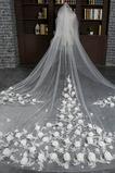 Kathedrale Schleppe Weiß Größe angepasst werden kann Spitze Hochzeitsschleier