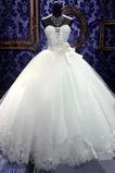 Natürliche Taille Schatz Kugel-Kleid Kristall Tüll Brautkleid