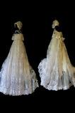 Hoch bedeckt Hut Zierlich Kurze Ärmel Spitzenbesatz Blumenmädchen kleid