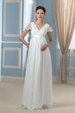 Elegante Reißverschluss Fegen zug Brautkleid mit kurzen Ärmeln
