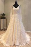Fallen Natürliche Taille V-Ausschnitt Illusionshülsen Hochzeitskleid