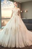 Tau Schulter Schnüren Natürliche Taille Kurze Ärmel Hochzeitskleid