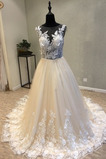 Trichter Ärmellos romantische Breit flach Fallen Tüll Brautkleid