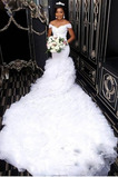 Tau Schulter Reißverschluss Lange Brautkleid mit kurzen Ärmeln