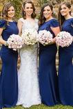 Satiniert Juwel Drapiert Formalen Kurze Ärmel Brautjungfernkleid