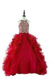 Knöchel Länge Schnüren Bördeln Organza Juwel Blumenmädchen kleid