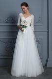 Natürliche Taille Appliques A Linie Halbe Ärmel Einfache Brautkleid