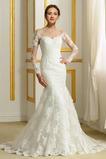 romantische Fiel Taille Reiner zurück Taste Satiniert Hochzeitskleid