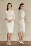 Trichter Lange Ärmel Knielänge Sommer Spitze Natürliche Taille Brautkleid