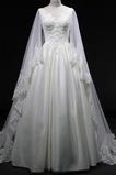 A Linie Reißverschluss Bördeln Formalen Natürliche Taille Tüll Brautkleid