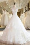 Natürliche Taille Ärmellos Fallen Schnüren V-Ausschnitt Brautkleid