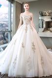 Spitze Kurze Ärmel Halle Spitzenüberlagerung Luxuriöse Brautkleid