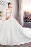 Rückenfrei Satin Natürliche Taille Ärmellos Trägerlose Brautkleid