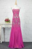 Glänzend Natürliche Taille Tüll A Linie Trägerlose Abendkleid