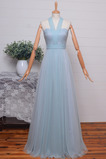 Natürliche Taille Halfter Einfach Schnüren Brautjungfernkleid