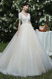 Romantisch Sommer Schnüren V-Ausschnitt T Hemd Lange Brautkleid