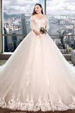 Lange Illusionshülsen Schnüren Satiniert Appliques Hochzeitskleid