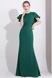 Länge des Bodens Juwel Elegante Mantel Natürliche Taille Abendkleid