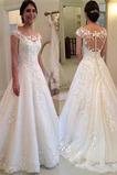 Lange Spitze Formalen Scoop Natürliche Taille Winter Brautkleid