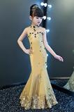 Meerjungfrau Hoher Hals Akzentuierte Rosette Blumenmädchen kleid