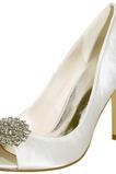 Stiletto Sandalen wasserdicht Strass Satin Braut Hochzeit Party Mode Schuhe
