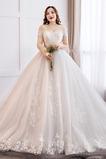 Elegante Tüll Schnüren Natürliche Taille Brautkleid mit kurzen Ärmeln