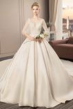 A Linie Rückenfrei Drapiert Satiniert 3/4 Länge Ärmel Hochzeitskleid