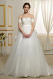 Kirche Natürliche Taille T Hemd Spitzenüberlagerung Luxuriöse Brautkleid