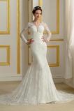 Lehnenlose Falten Natürliche Taille Halle V-Ausschnitt Brautkleid