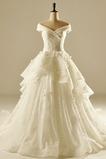 Trichter Frühling Schnüren v-Hals Brautkleid mit kurzen Ärmeln