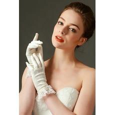 Schick Kurze Spitze Volle finger Spitze Frühling Hochzeit Handschuhe