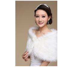 Glamouröse Weiß Knopf Winter Dicke Ärmellos Hochzeit Schal