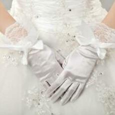 Dicke Volle finger Schmetterlingsknoten Taft Vintage Hochzeit Handschuhe