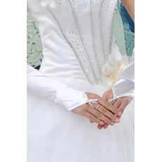 Halle Taft Romantisch Dicke Gerüscht Lange Hochzeit Handschuhe