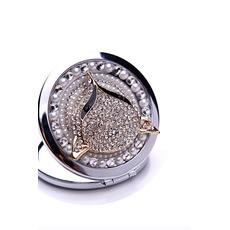 Bestnote doppelseitige Charme Folding Inlaid diamond Business kleine Spiegel & Kamm