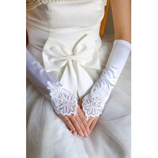 Fingerlose Bördeln Lange Weiß Vintage Elastischer Satin Hochzeit Handschuhe