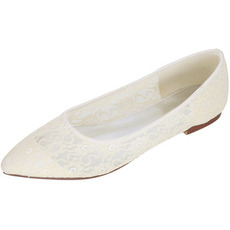 Transparente hohle Spitze elegante Pumps Bankett Hochzeit flache Schuhe Frauen