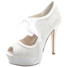 Elegante Spitze High Heel wasserdichte Plattform Damenschuhe Satinbänder Bankett Hochzeitsschuhe Mode Schuhe