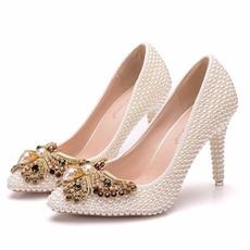 9CM Perle Bogen High Heels Stiletto Spitzenschuhe Party Schuhe