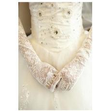 Schwarz Transluzent Spitze Spitze Formell Volle finger Hochzeit Handschuhe