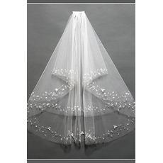 Schick Mit Kamm Bördeln Größe angepasst werden kann Weiß Hochzeitsschleier