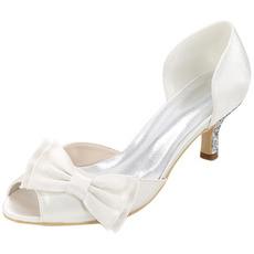 Hochzeitsschuhe plus Größe einzelne Schuhe Bogen Satin Party Sandalen