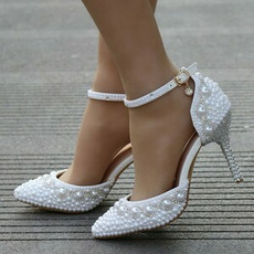Sandalen mit hohen Absätzen Perlen Strass Sandalen weiße Hochzeitsschuhe
