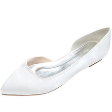 Spitzschuhe Satin flache Schuhe Partei Abschlussball lässig Damenschuhe